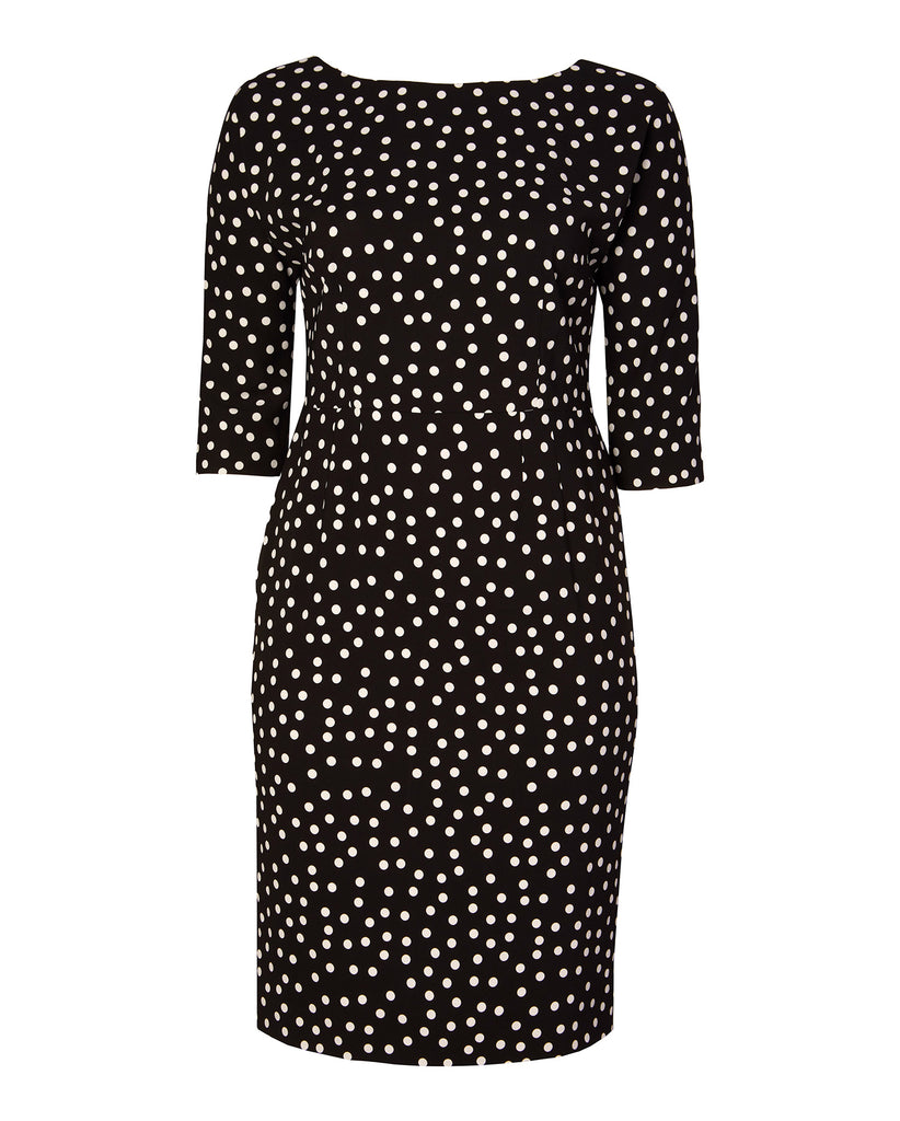 Three-Quarter Sleeve Polkadot Sheath Dress