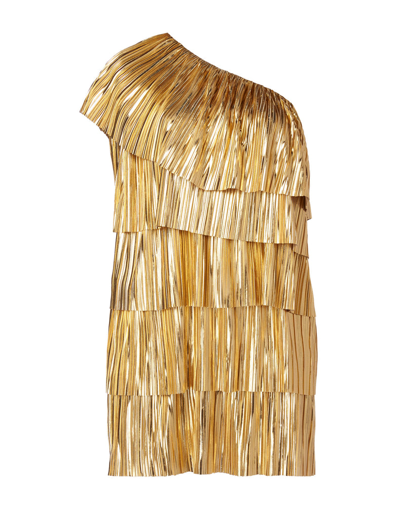 One Shoulder Metallic Pleated Dress