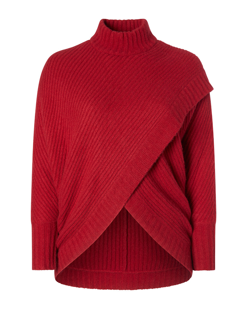 Airy Cashmere Silk Wrap Front Sweater