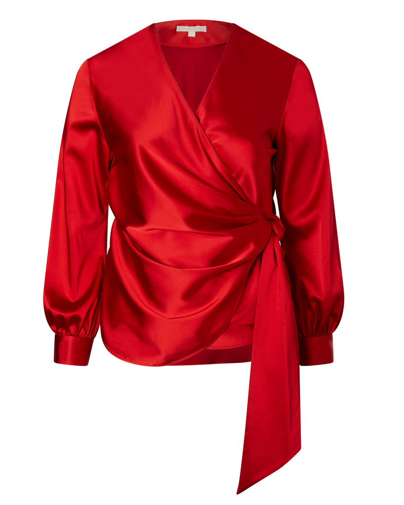 Exclusive Satin Tie Front Wrap Top