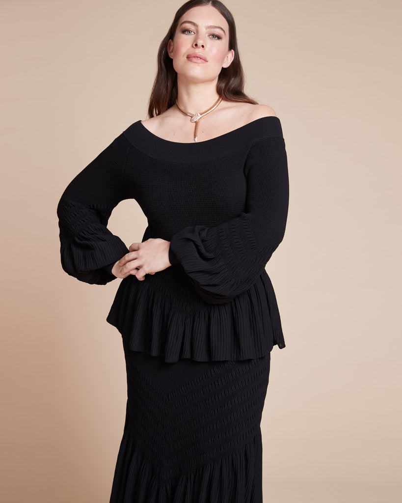 Smocked Knit Off-The-Shoulder Top
