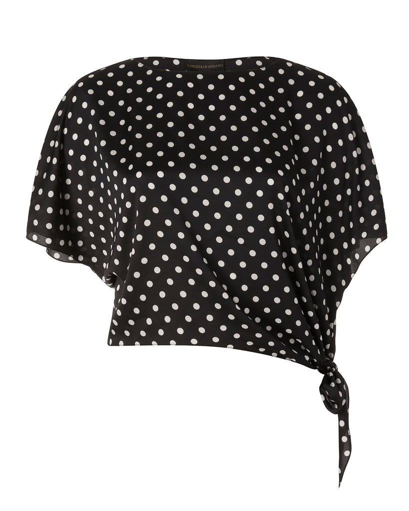 Polkadot Silk Side Tie Shirt