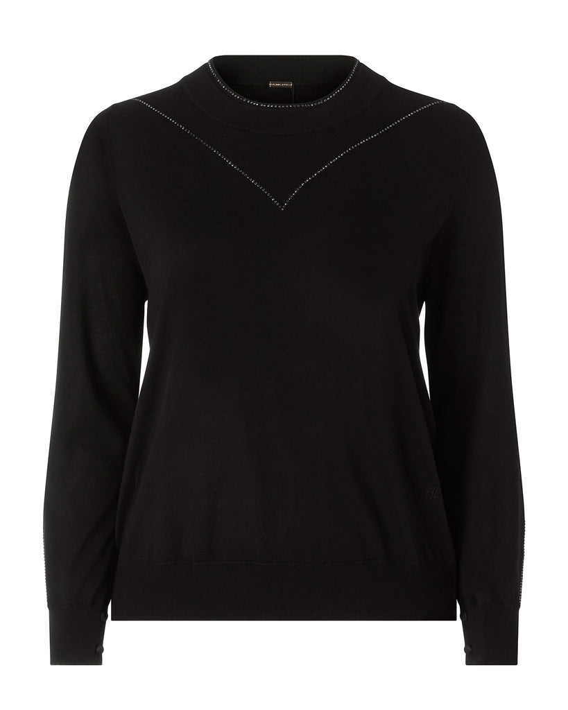 Merino Crew Neck with Crystal Embroidery