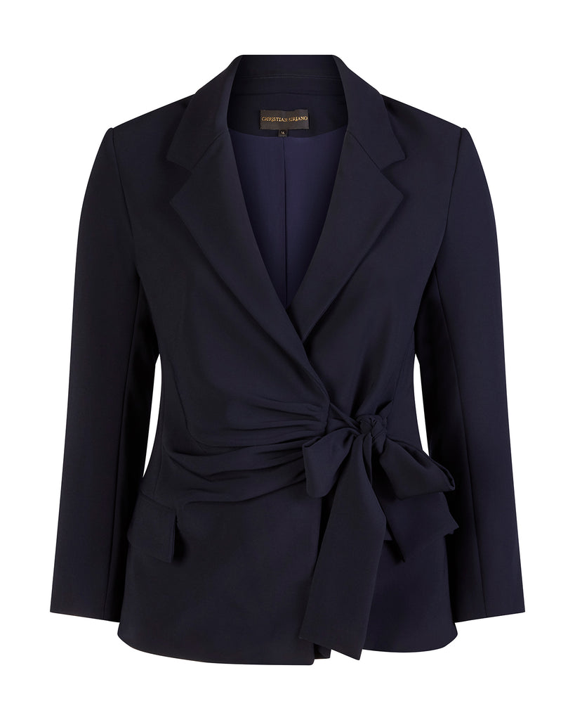 Eclipse Navy Textured Crepe Wrap Blazer