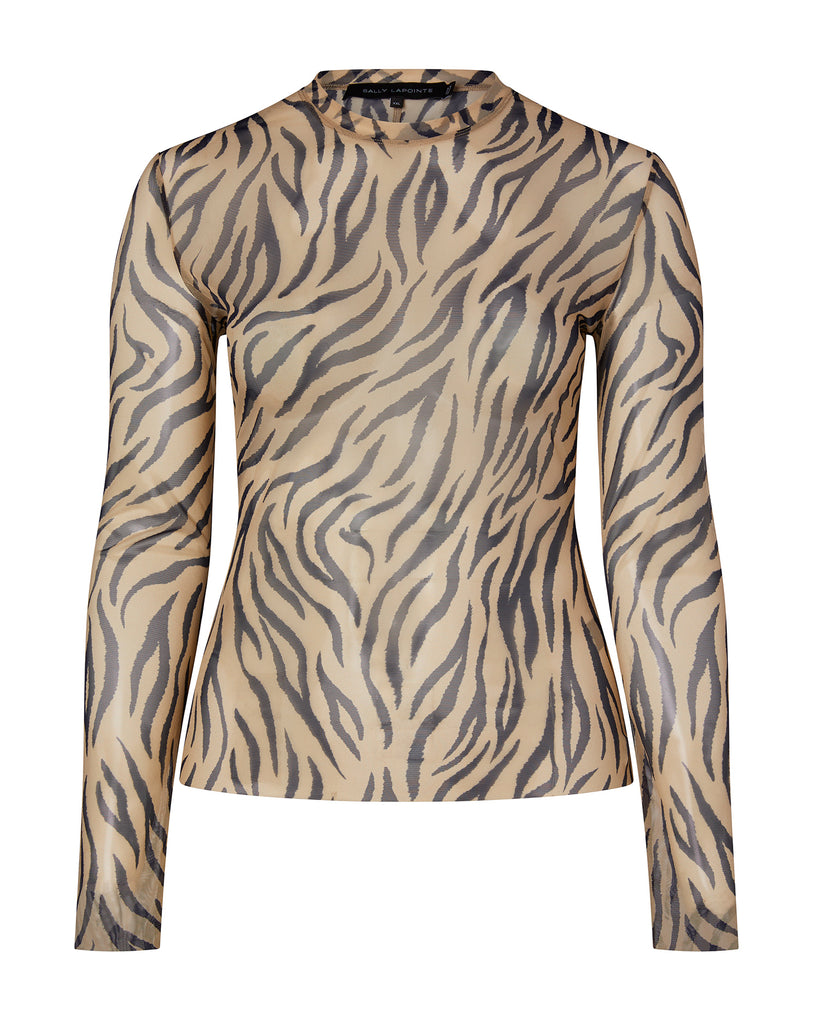 Zebra Printed Mesh Long Sleeve Top