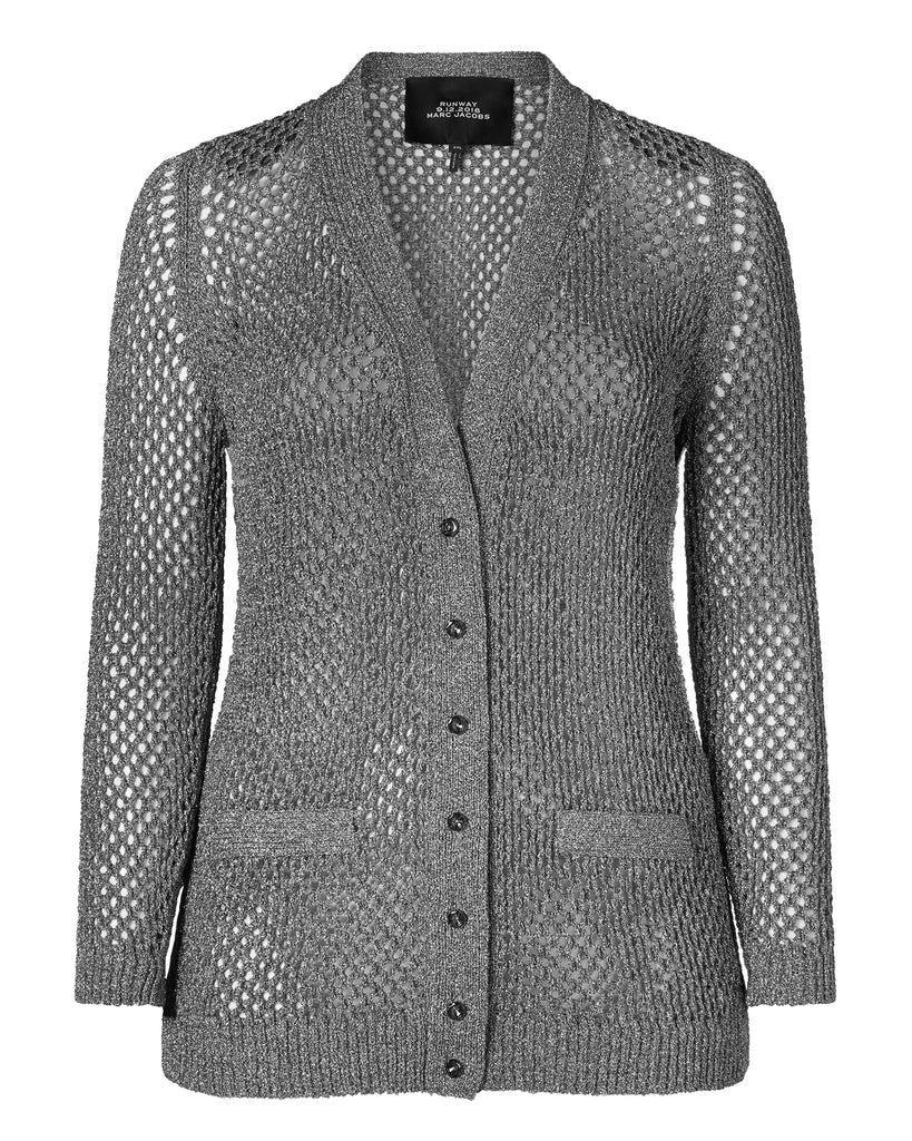 Long Sleeve Lurex Fishnet V-Neck Cardigan