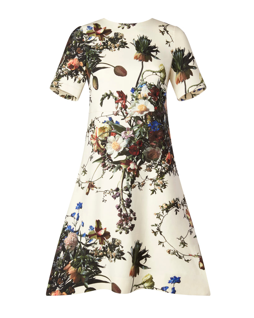 Printed Wool Short Sleeve Trapeze Dress