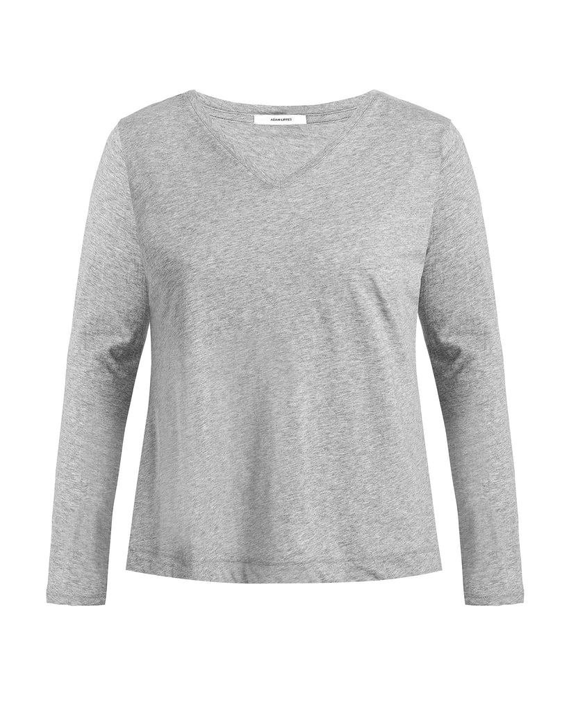 Long Sleeve V-Neck Pima Cotton T-Shirt