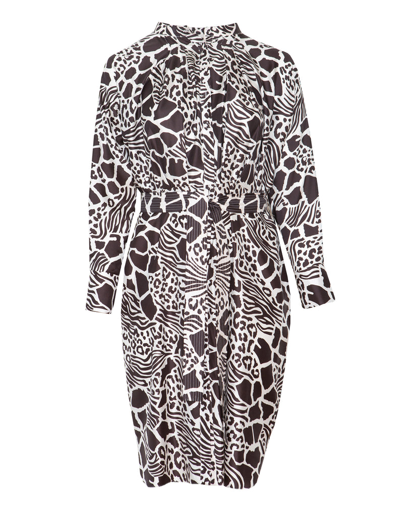 Printed Silk Twill Tie-waist Dolman Sleeve Dress
