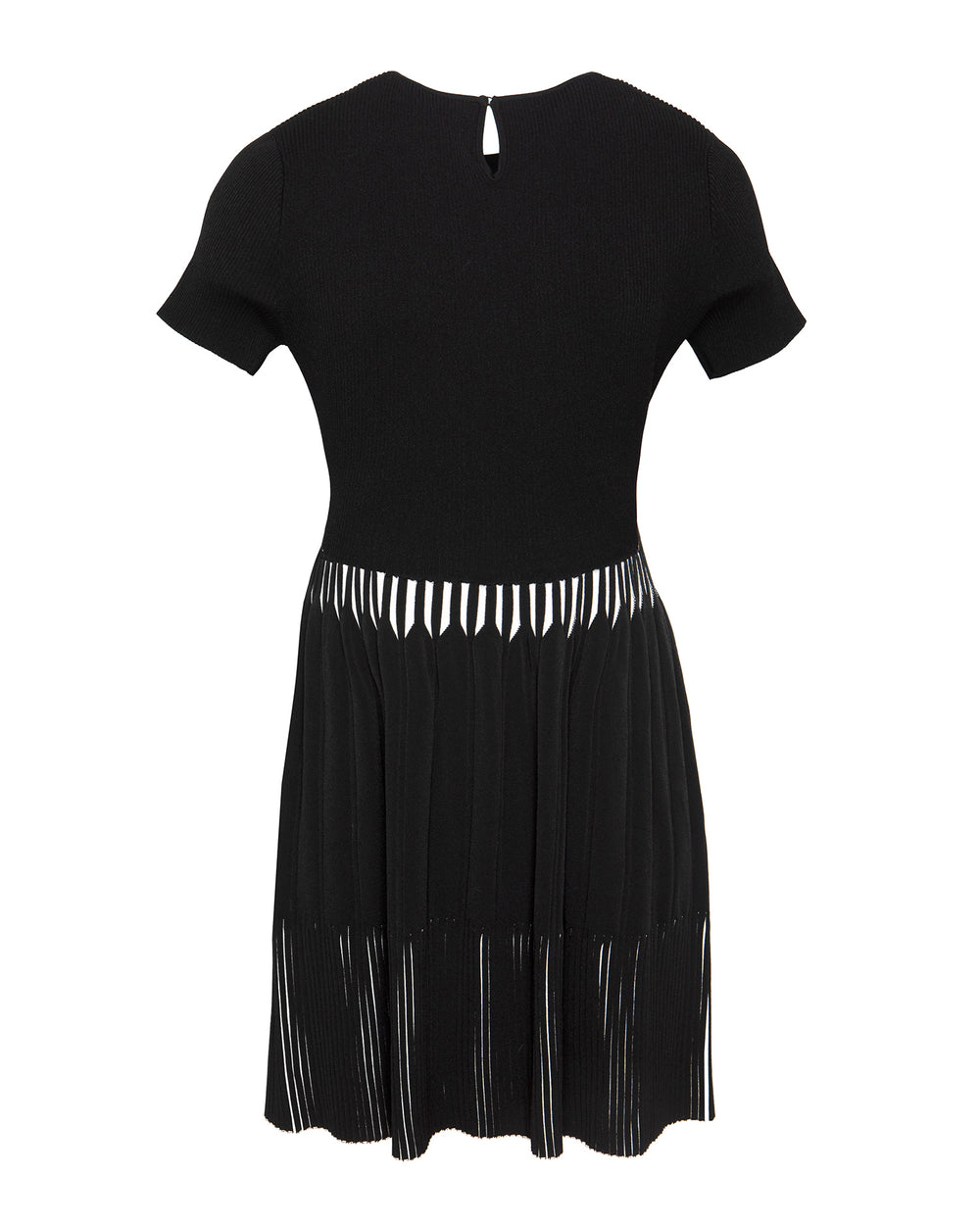 Short Sleeve Bi-Color Rib Fit-and-Flare Dress
