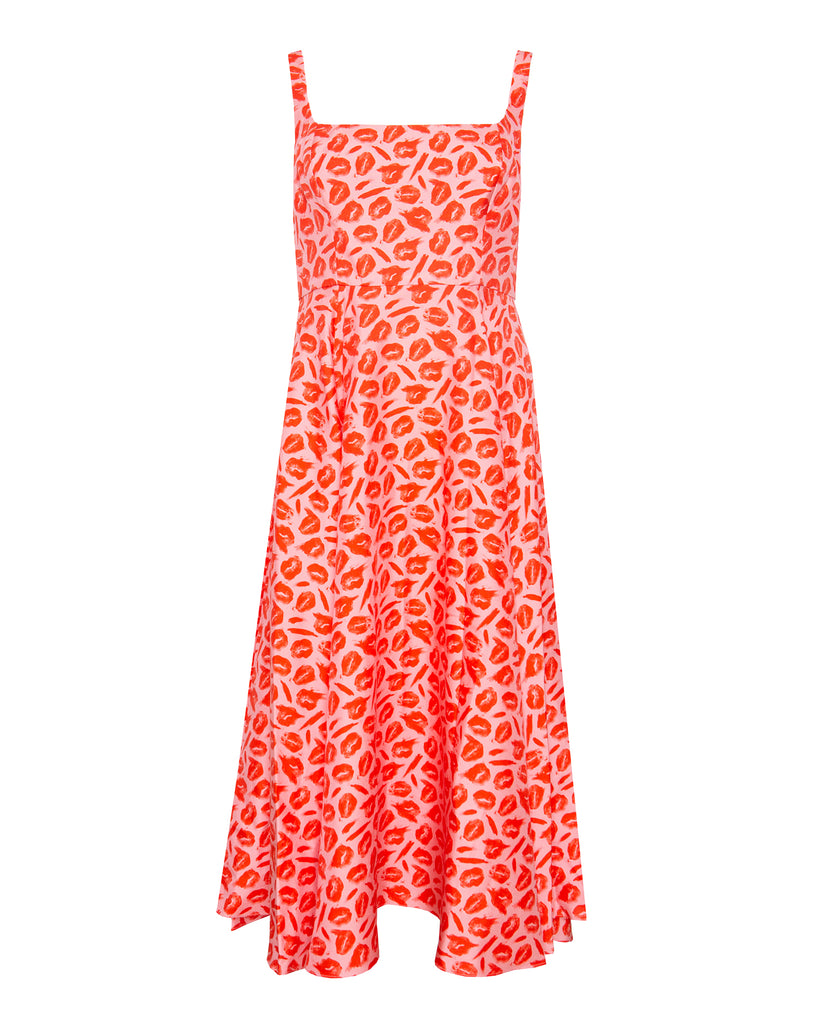 Lip Print Square Neck Dress with A-Line Skirt