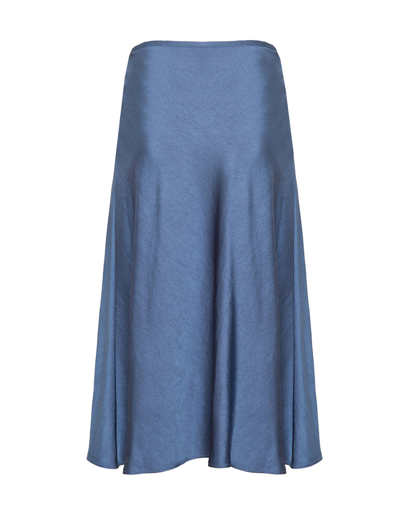 Stretch Crinkle Satin Slip Skirt