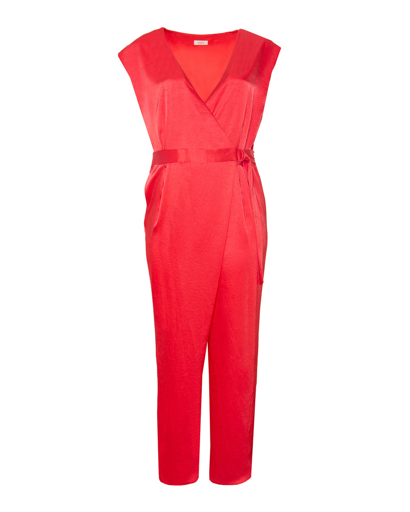 Stretch Crinkle Satin Wrap D-Ring Jumpsuit