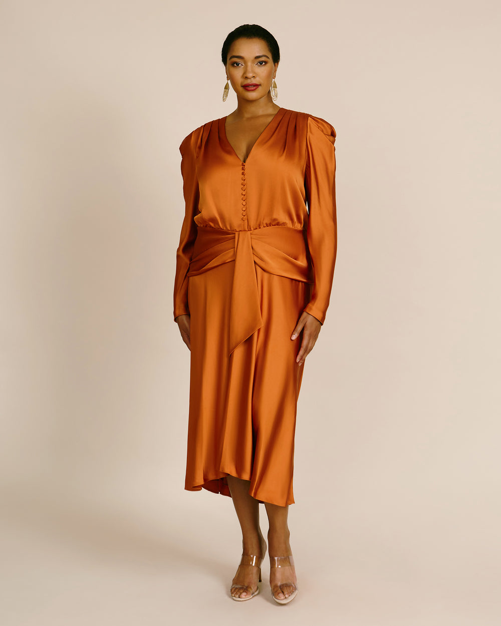 Annalise Satin Puff Sleeve Midi Dress