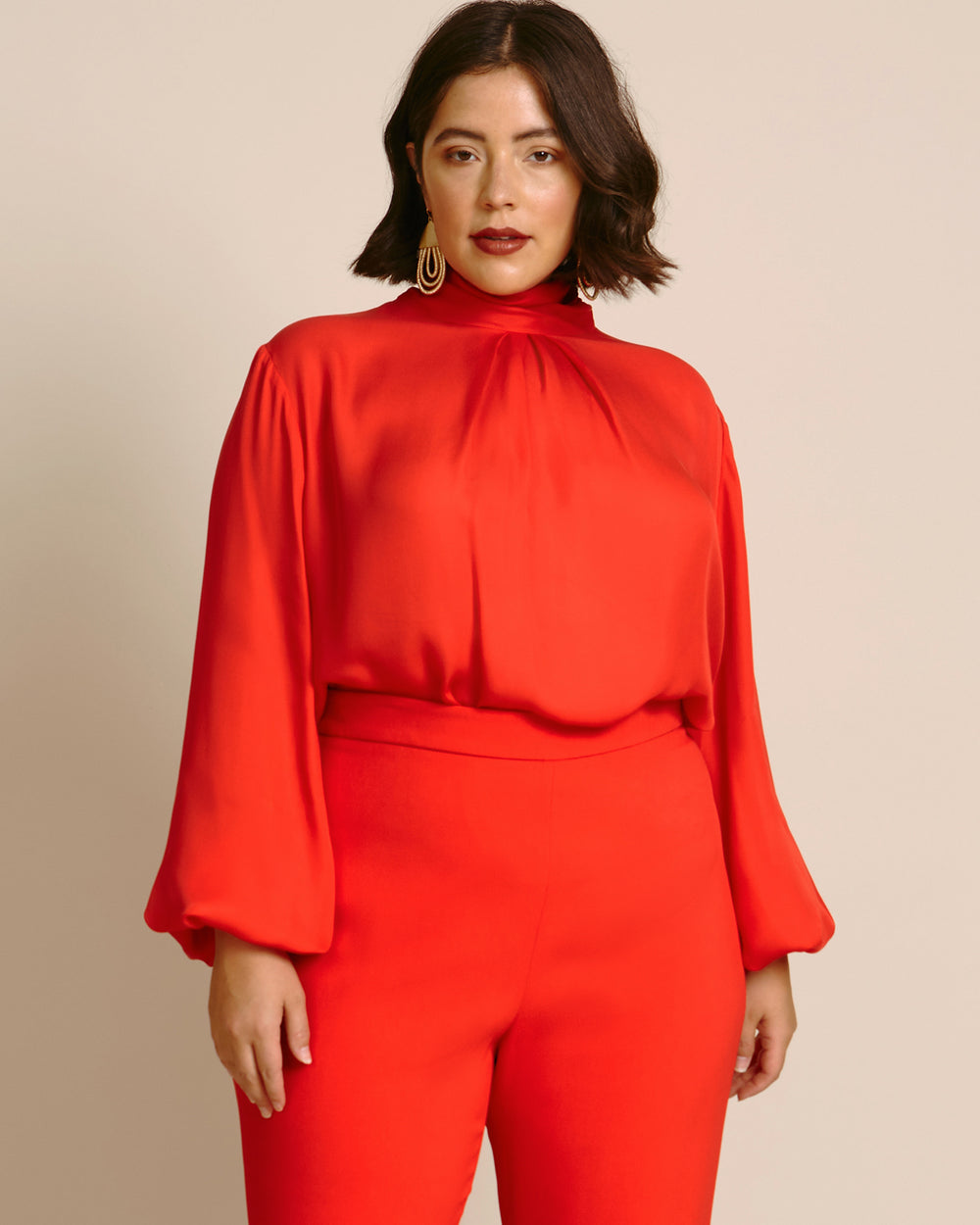 Draped High Neck Long-Sleeved Blouse
