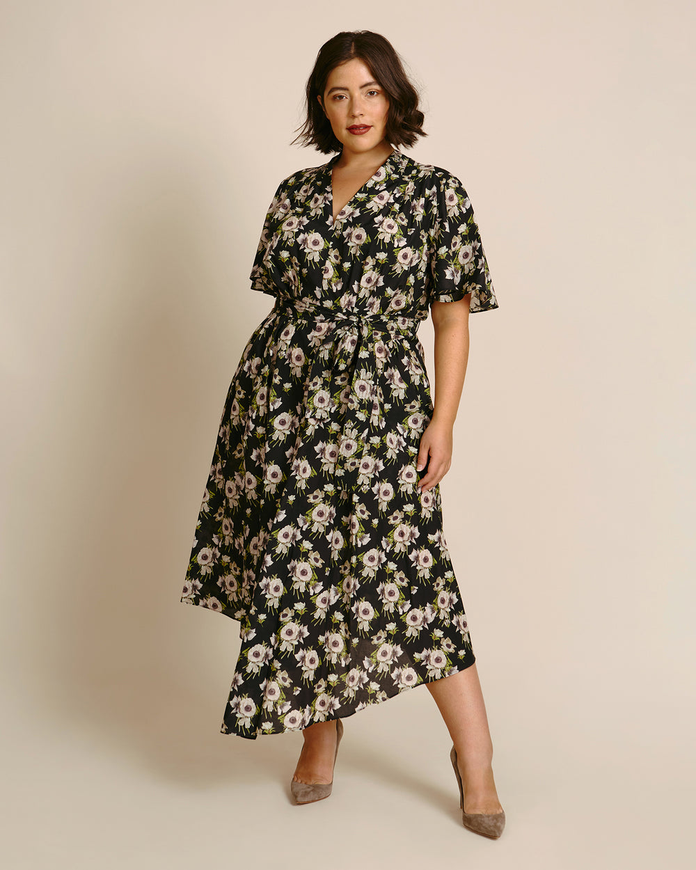 Printed Cotton Voile Asymmetrical Dress