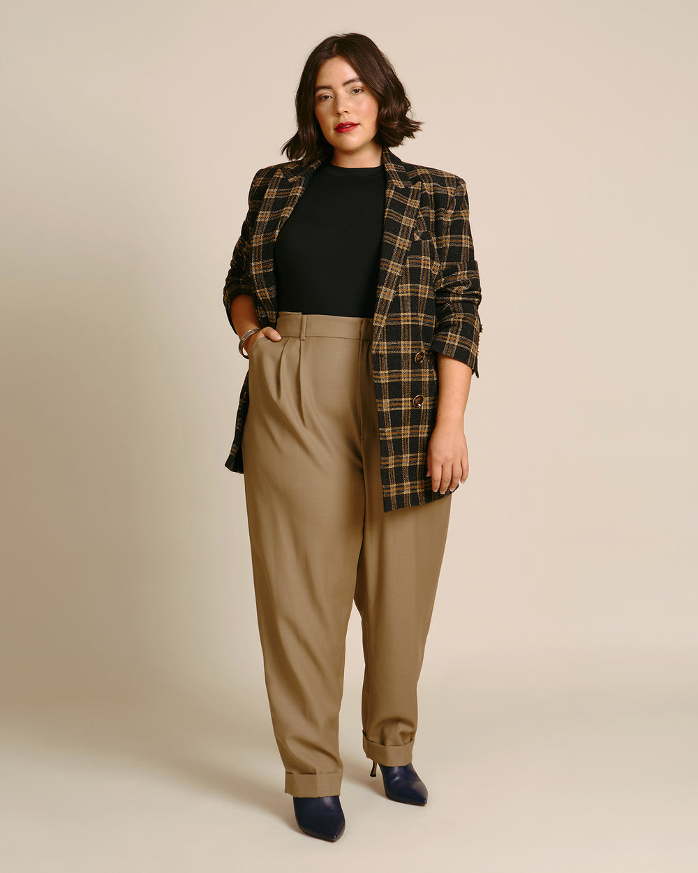 Pleated Trouser with Elastic Back