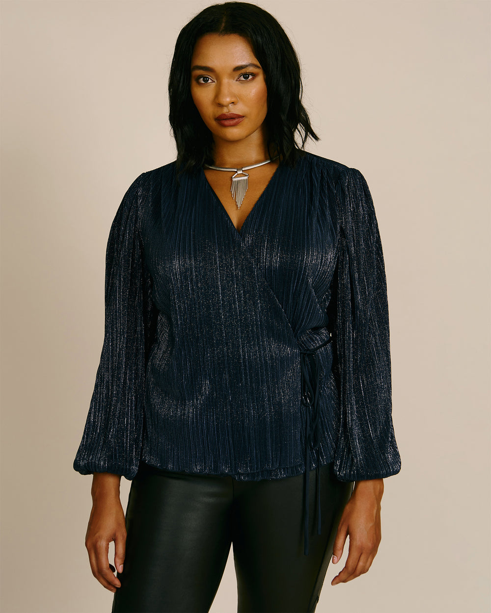 Jos Long Sleeve Plissé Top