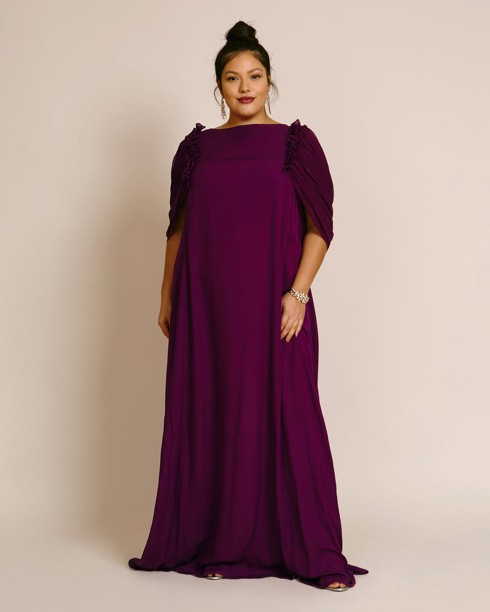 Column Kaftan With Draped Caped Sleeves