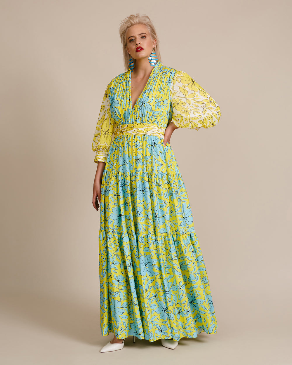 Multi Print Tiered Gown