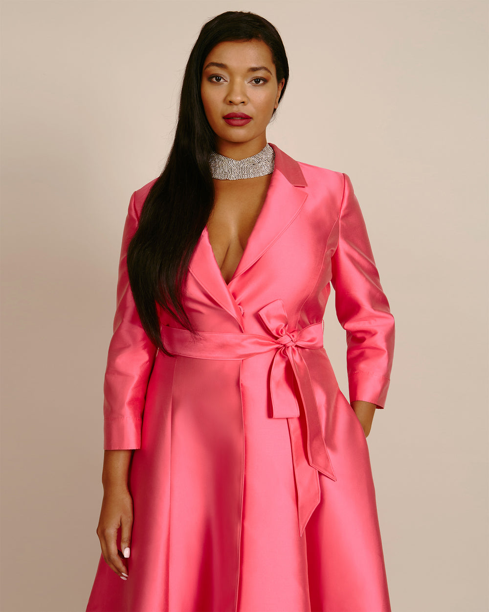 Three-Quarter Sleeve Suit Gown