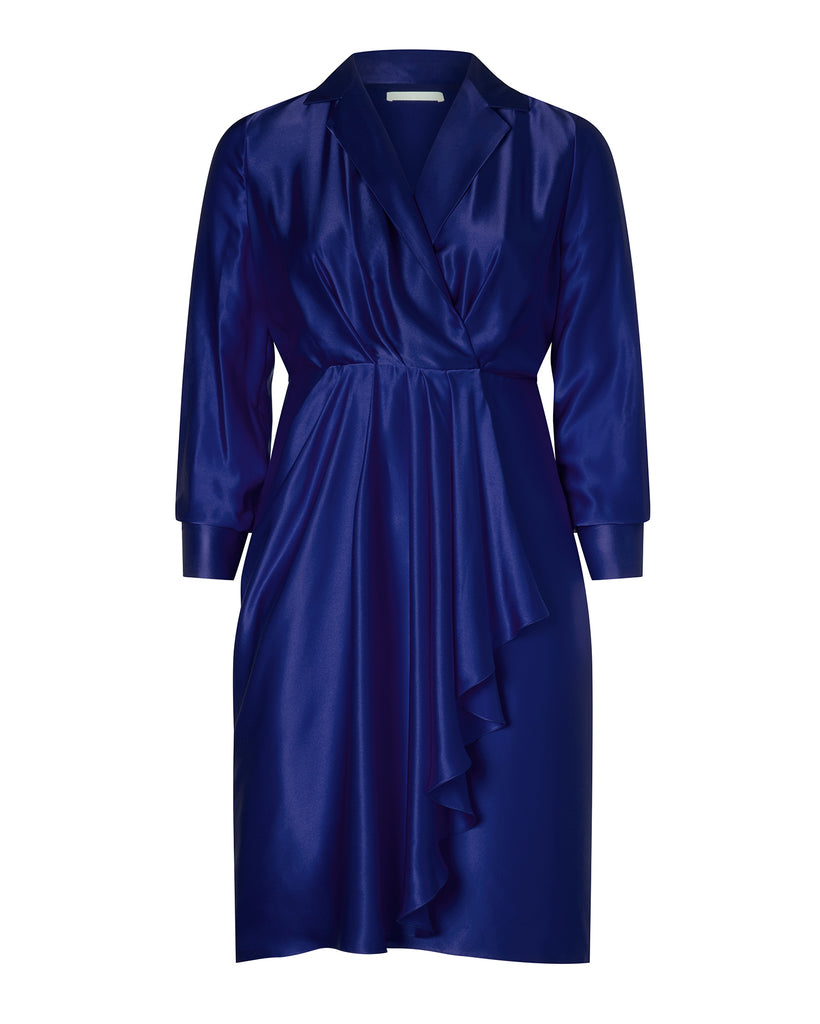 Silk Charmeuse Long Sleeve Collar Day Dress