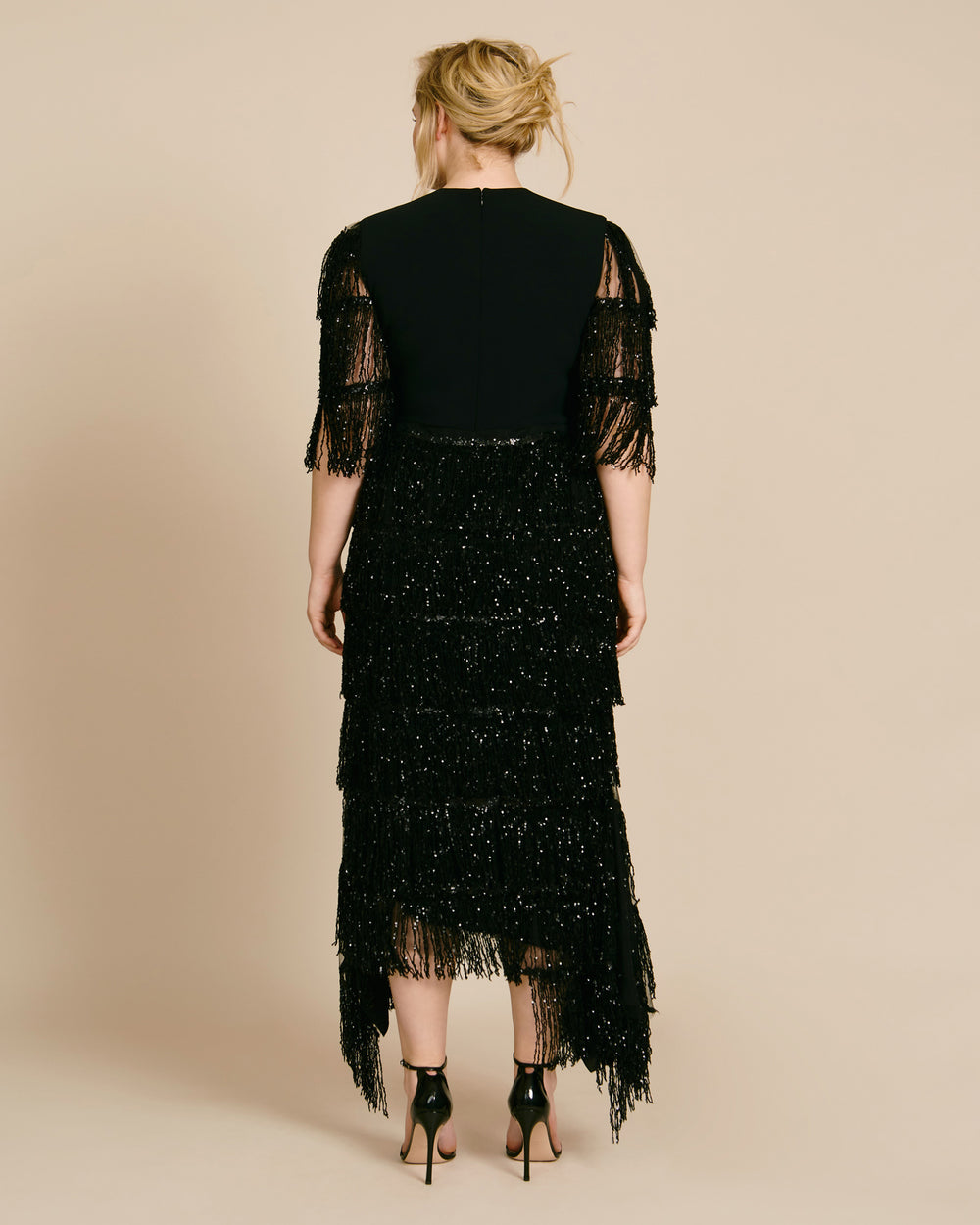 Sequin Fringe Asymmetrical Hem Dress
