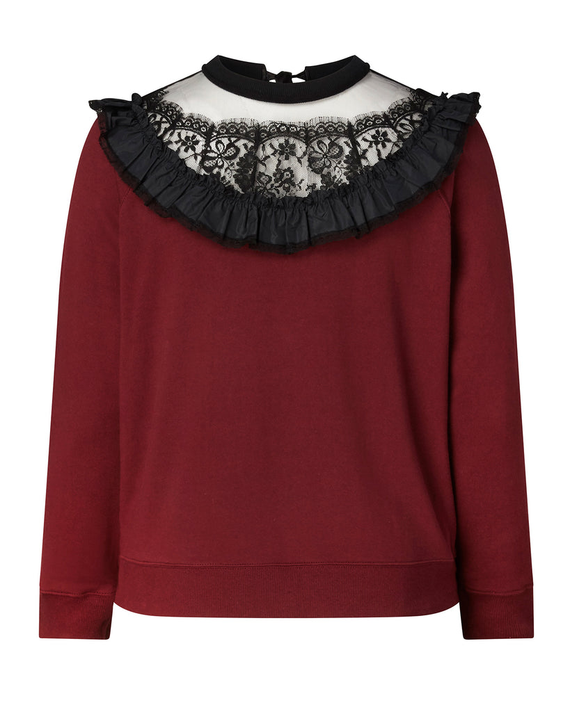 Sweatshirt with Lace and Ruffle