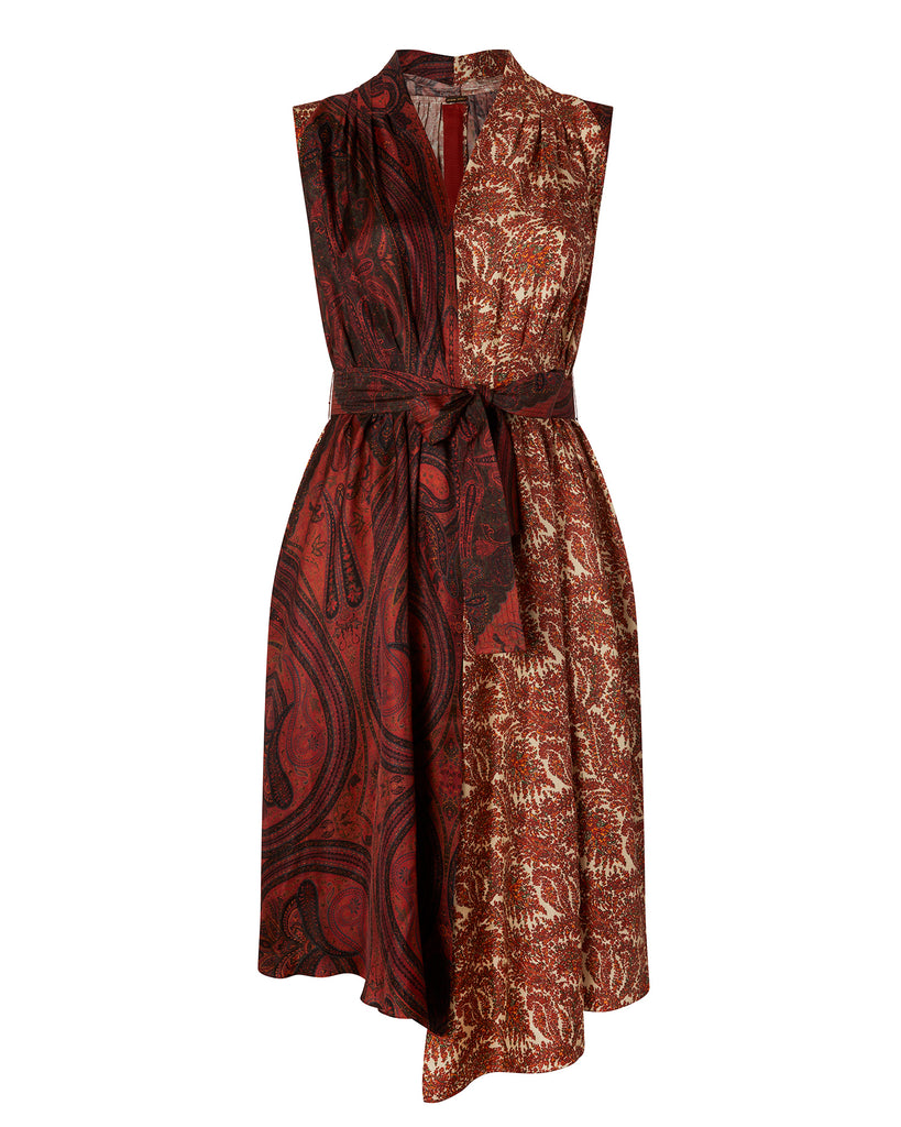 Printed Silk Twill Asymmetrical Dress