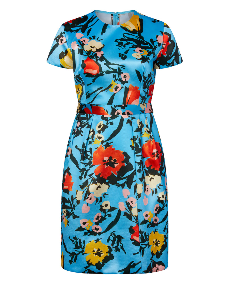 Mikado Pique Floral Cocktail Dress