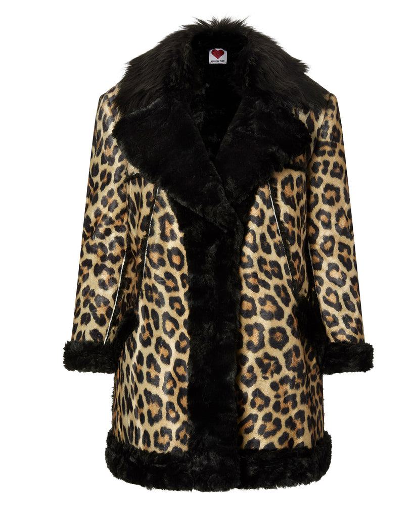 Black Lined Leopard Coat