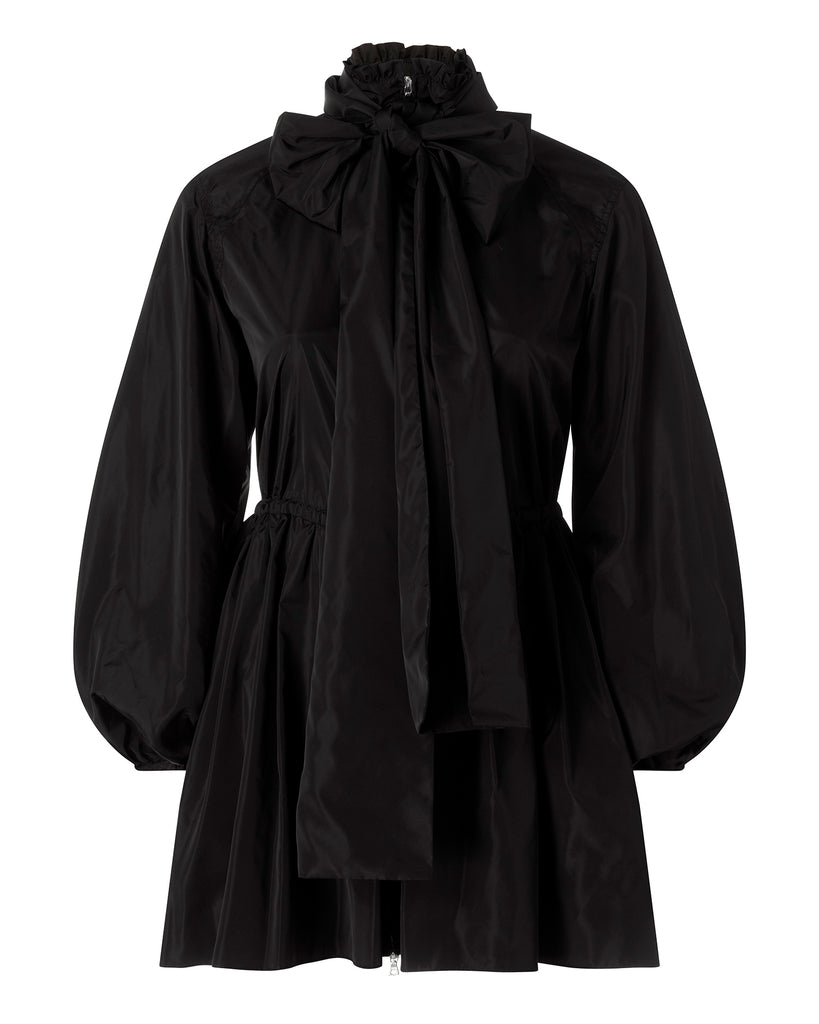 Taffeta Ruched Anorak with Scarf