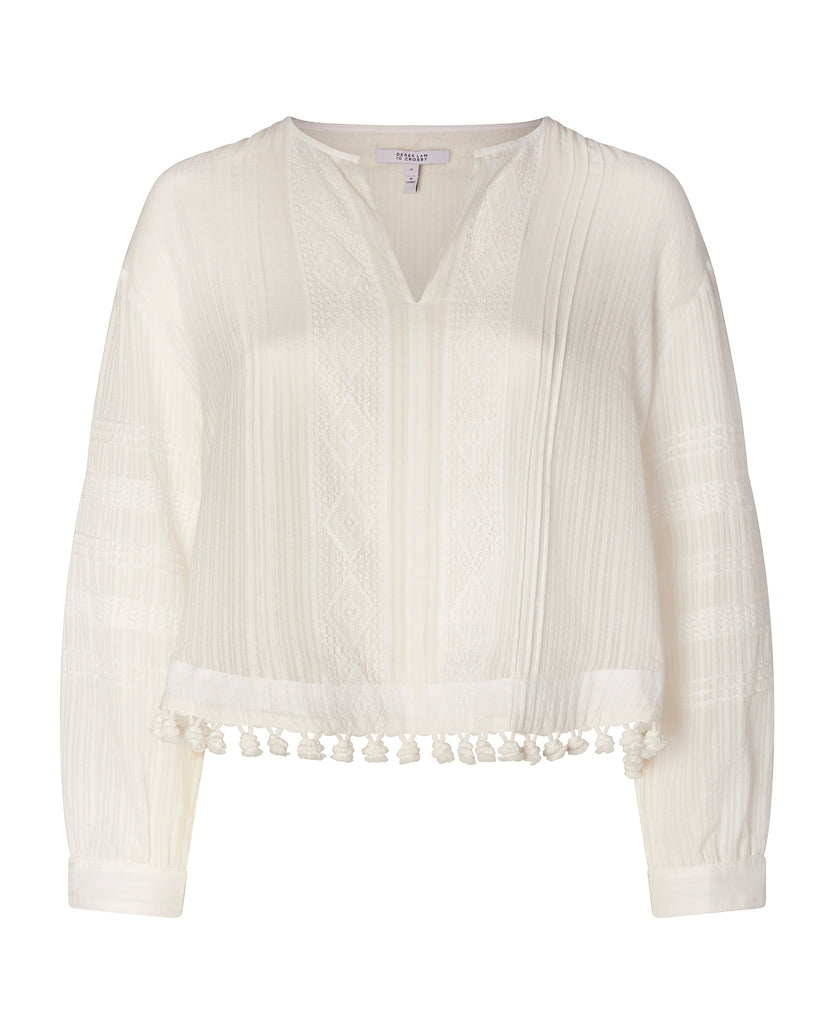 Long Sleeve Blouse with Lace and Tassels