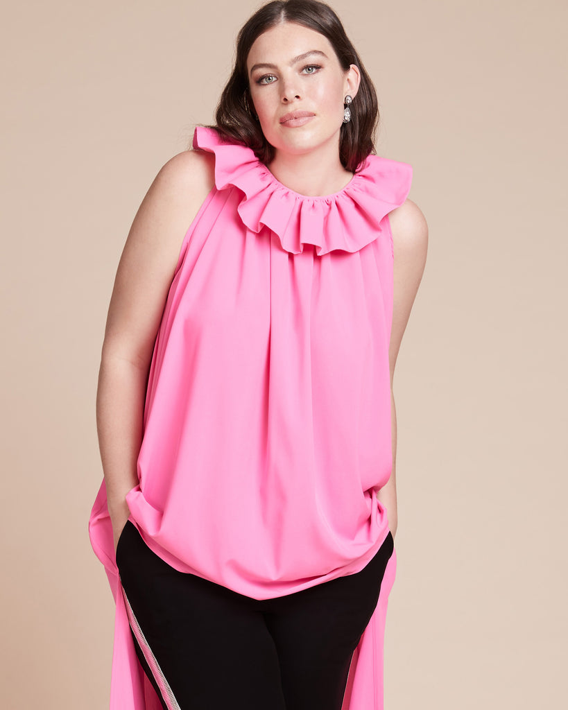 Flowy Top With Ruffle Collar