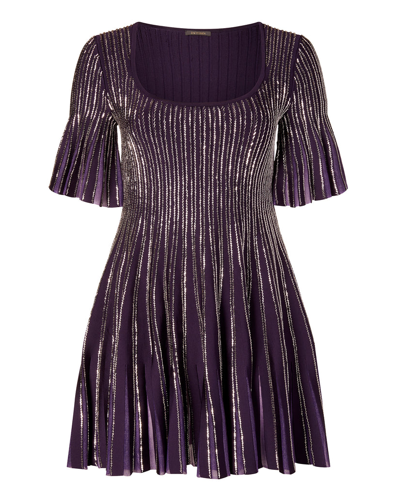 Knit Embroidered Radiant Stripe Dress