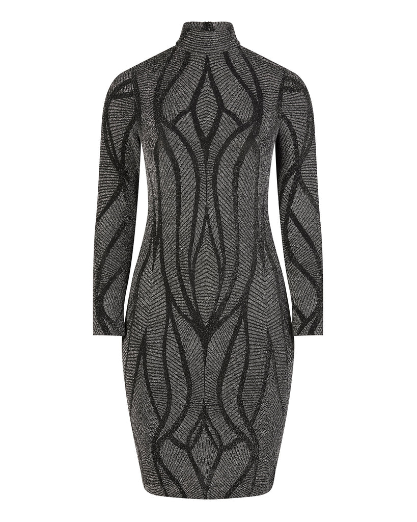 Interstellar Silver Mock Neck Mid Length Dress