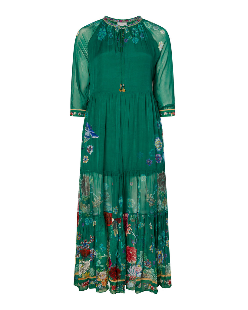 Long Gathered Panel Dress
