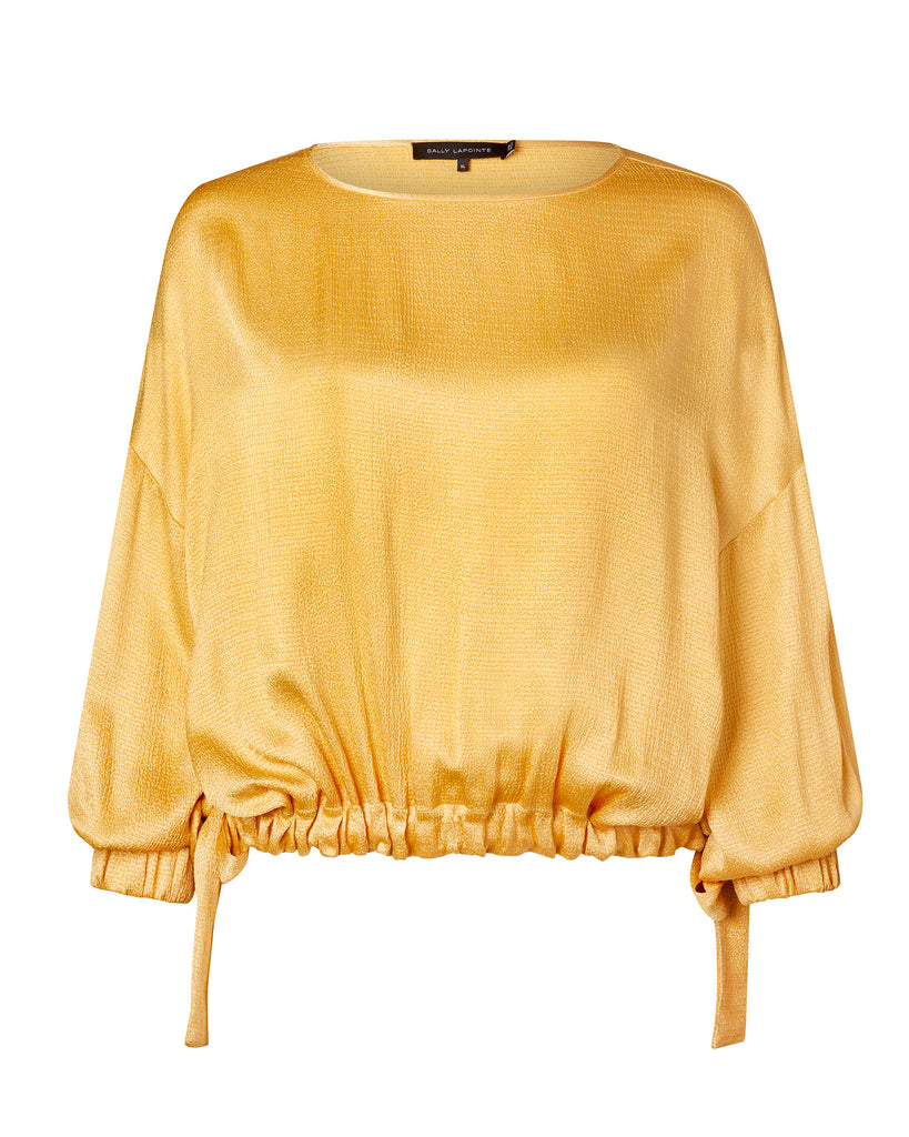 Smocked Satin Drawstring Top