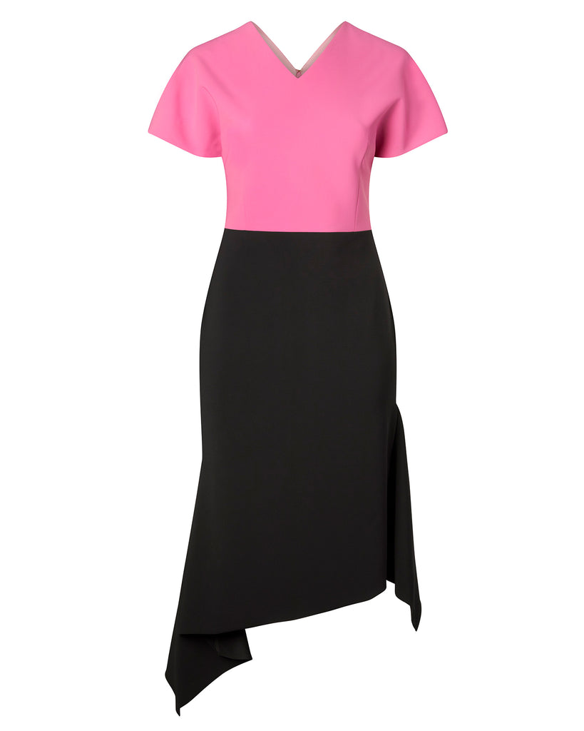 Malibu Pink and Black Dolman Sleeve Dress