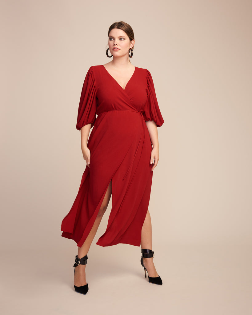 Cady Tulip Sleeve Wrap Dress