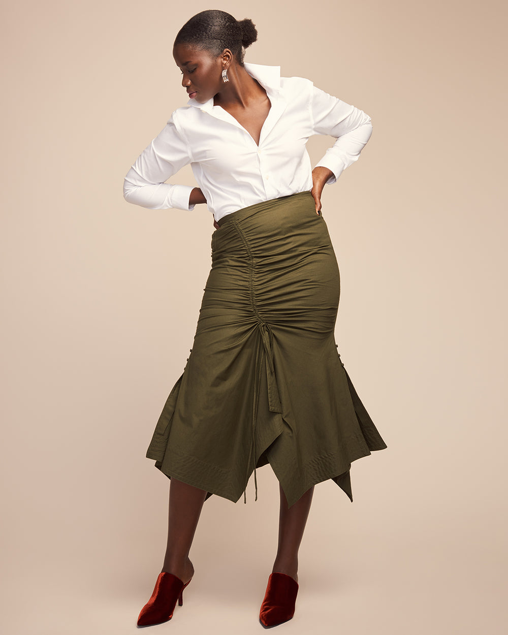 Raquel Rouched Cotton Maxi Skirt