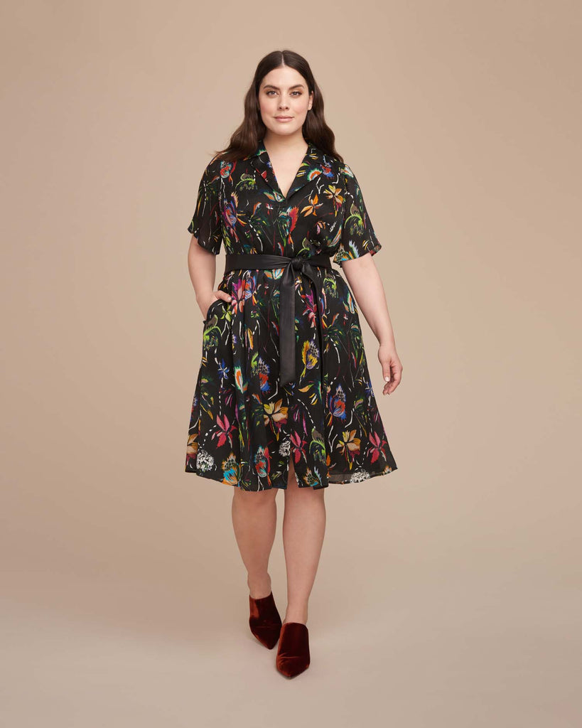 Crinkle Silk Short Sleeve Dress