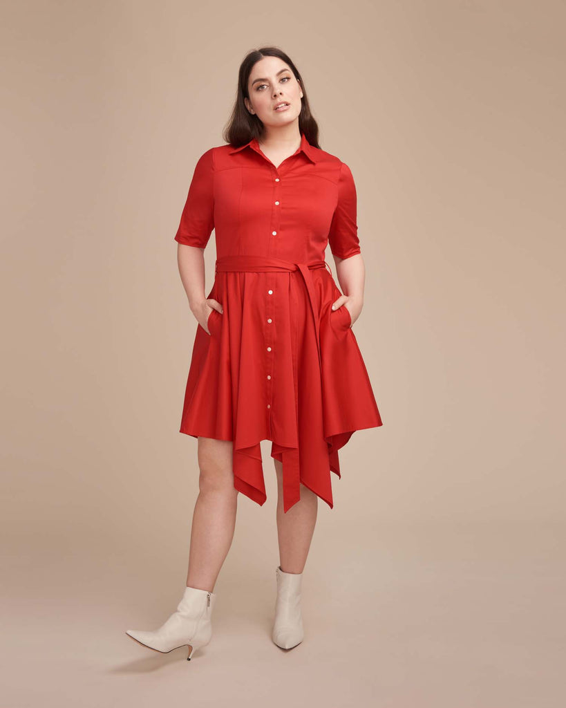 Handkerchief Hem Shirtdress