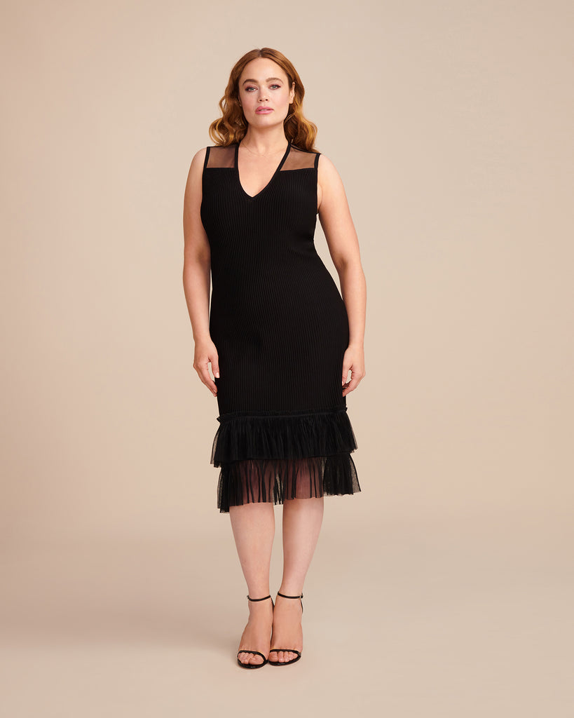 Pleated Tulle Ottoman Flare Dress