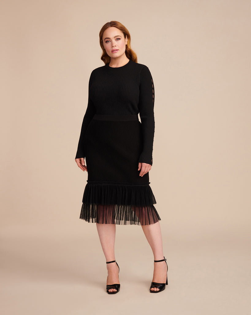 Pleated Tulle Ottoman Pencil Skirt