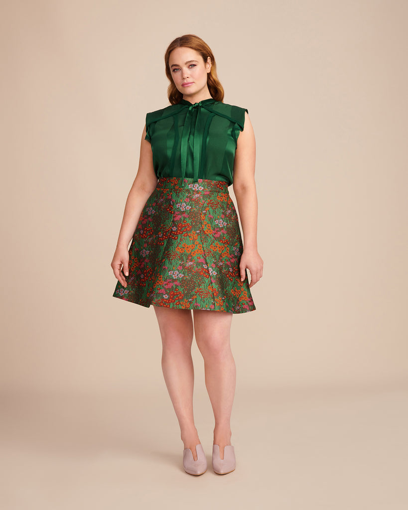 Wildflower Jacquard Flare Skirt