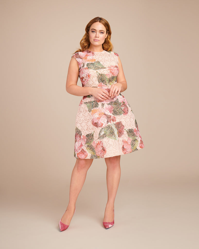 Rose Print Lace Floral Party Dress