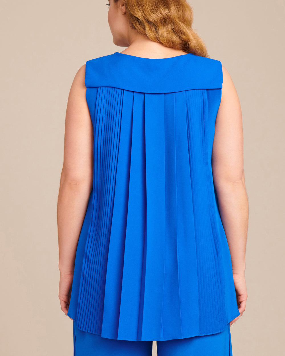Silk Crepe Sleeveless Tunic with Pleat Back
