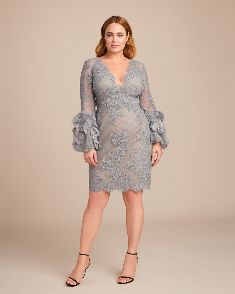 Corded Lace Cocktail Dress with Bell Sleeve