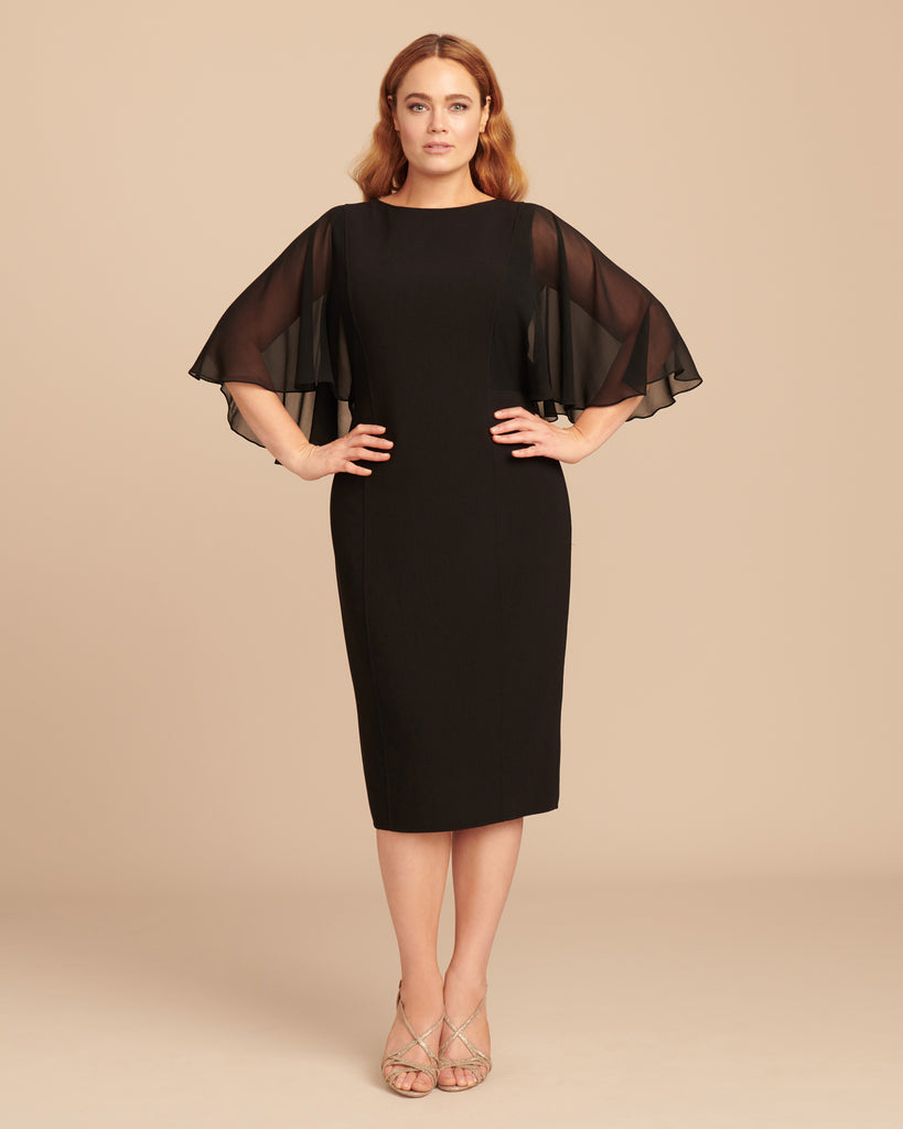 Draped Sleeve Chiffon Dress